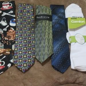 4 ties 2 pair of socks